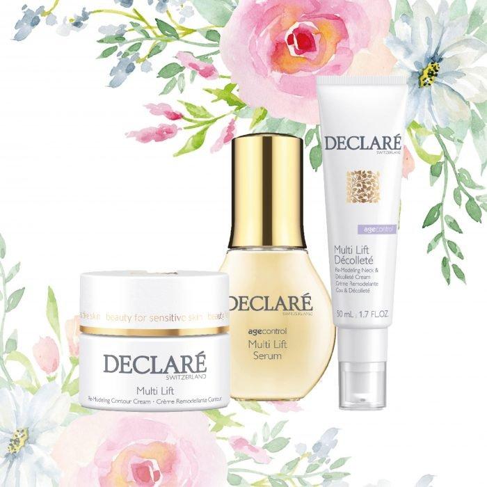 Declare Cadeauset met Multi Lift Cream, Multi Lift Serum en Multi Lift Decollete voor de verouderde, gevoelige huid